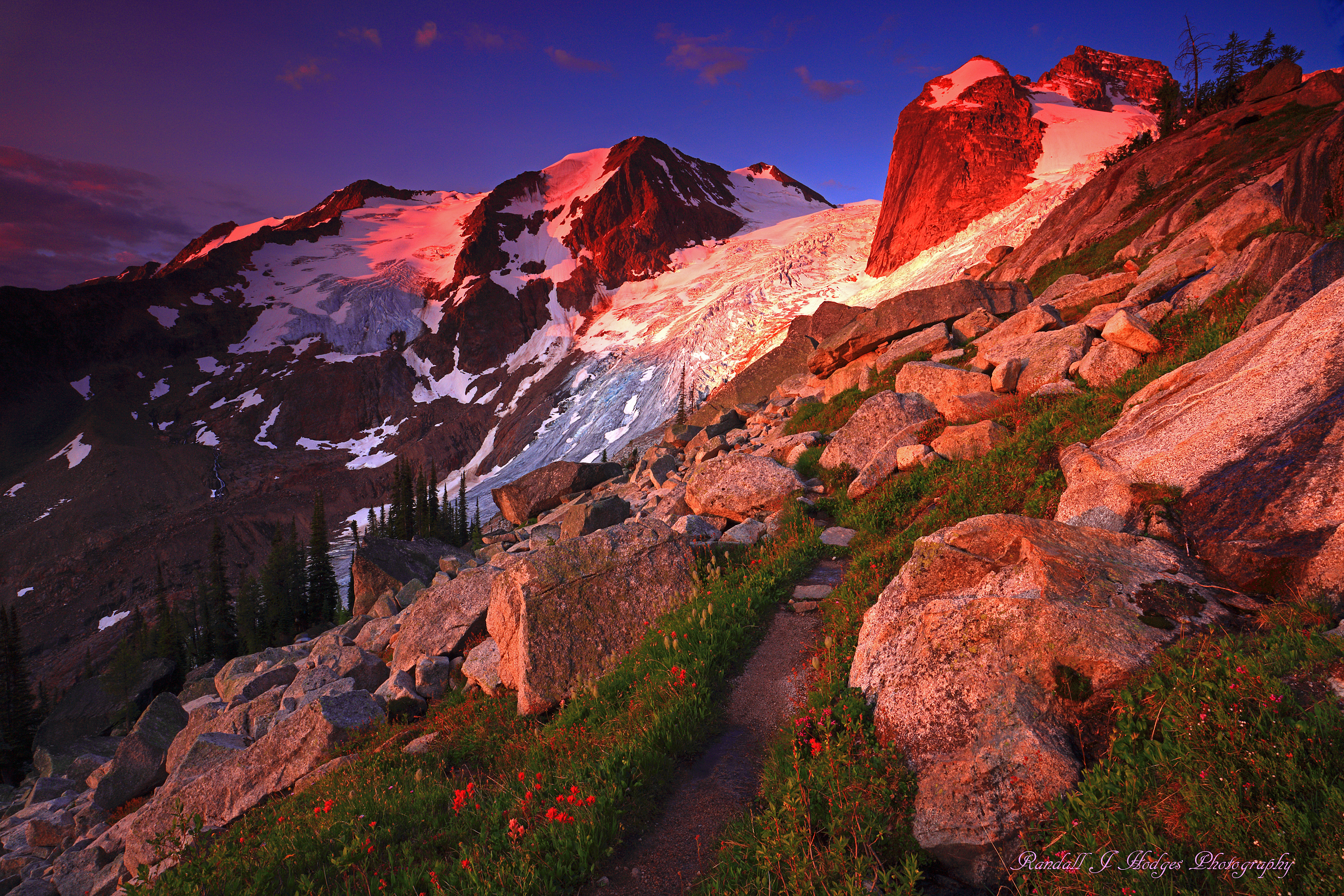 Sunrise in the Bugaboo Mountains in the Purcell Mountains Bugaboo Provincial Park in Canada