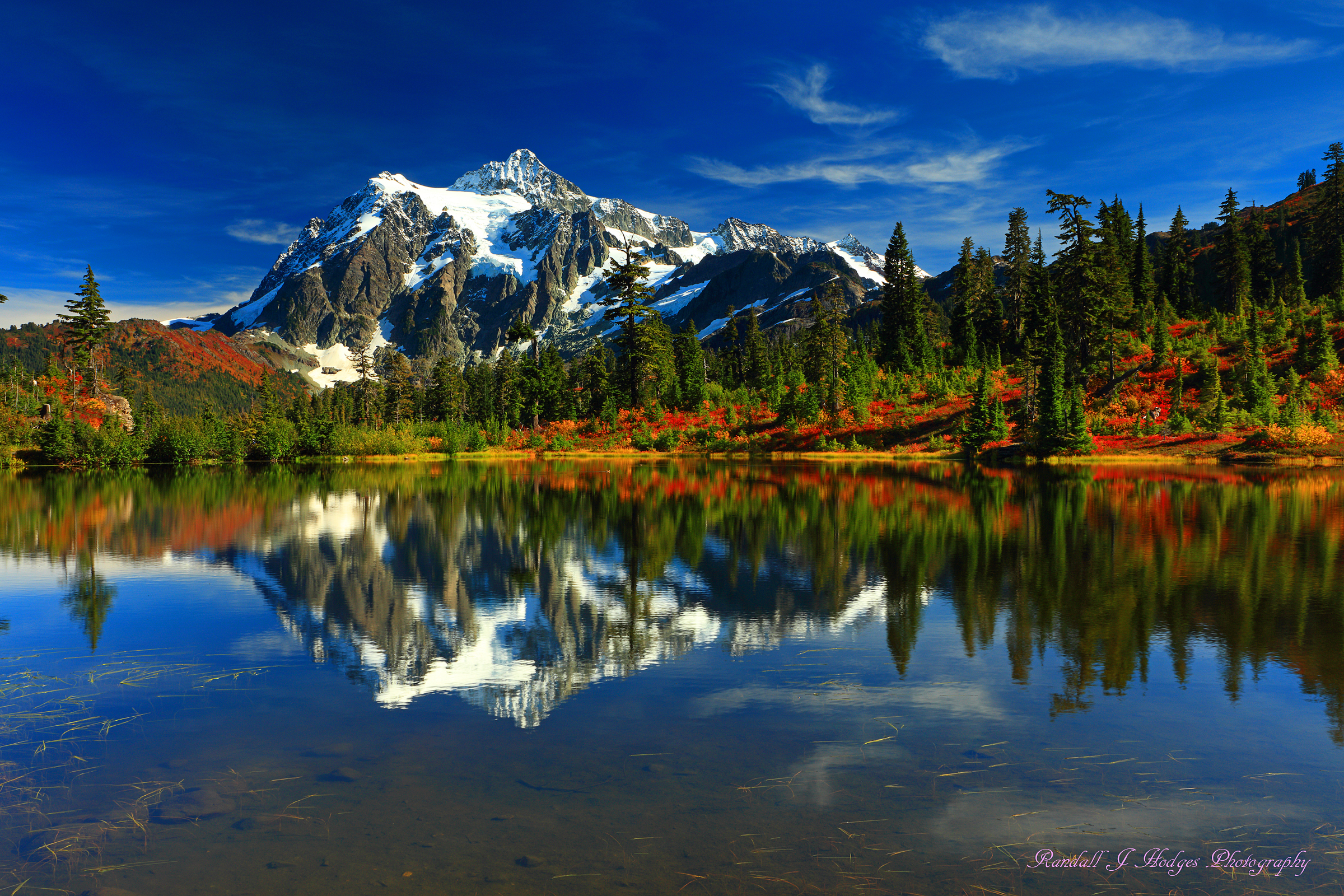Mt Shuksan Reflected in Picture Lake from Heather Meadows in the Mt Baker-Snoqualmie National Forest in Washington